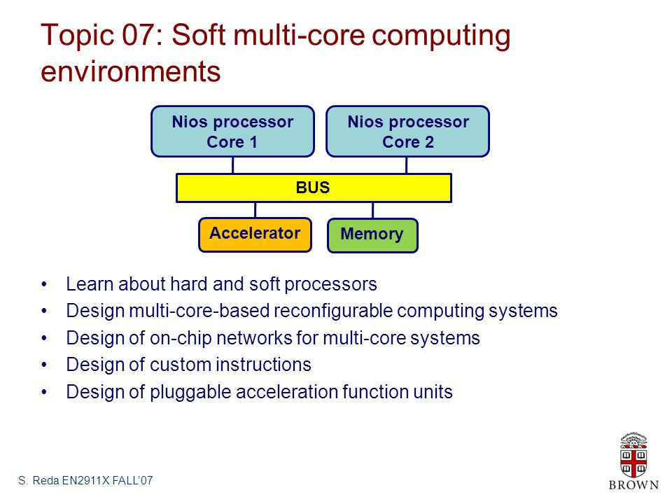 Topic 07: Soft multi-core computing environments Learn about hard and soft processors Design multi-core-based reconfigurable computing systems Design of on-chip networks for multi-core systems Design of custom instructions Design of pluggable acceleration function units S.