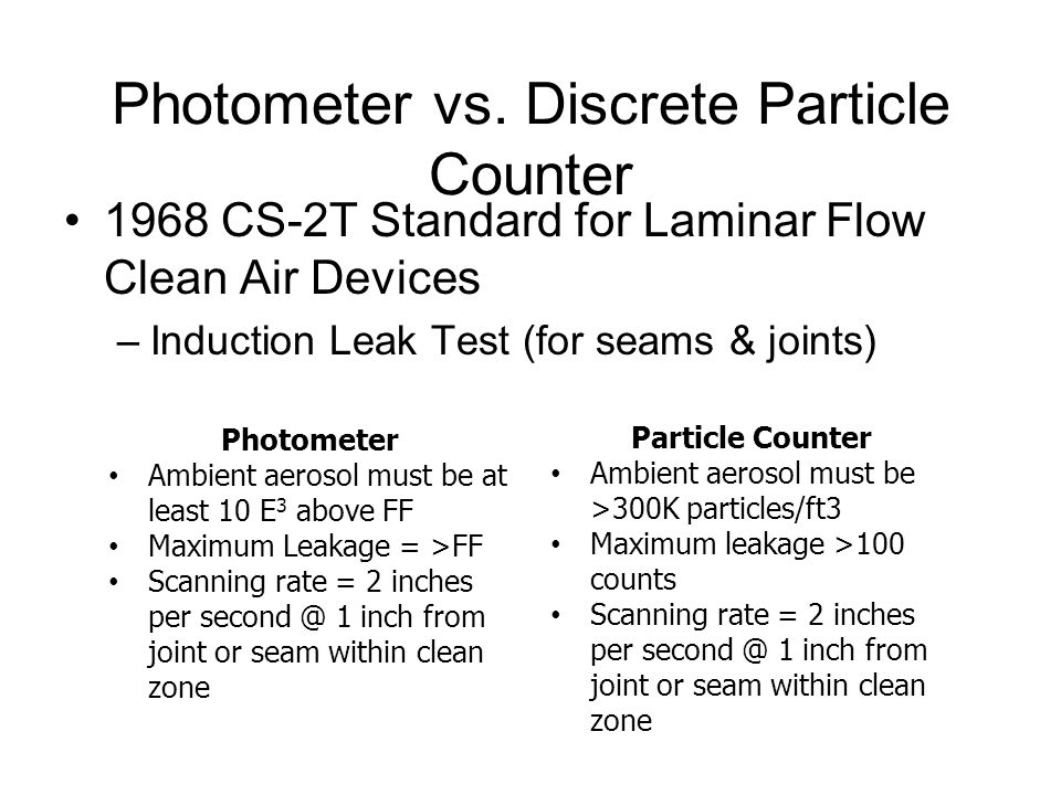 Photometer vs. Discrete Particle Counter 1968 CS-2T Standard for Laminar Flow Clean Air Devices –Induction Leak Test (for seams & joints) Photometer A