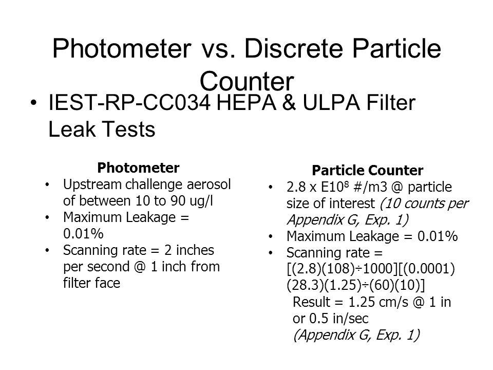 Photometer vs. Discrete Particle Counter IEST-RP-CC034 HEPA & ULPA Filter Leak Tests Photometer Upstream challenge aerosol of between 10 to 90 ug/l Ma