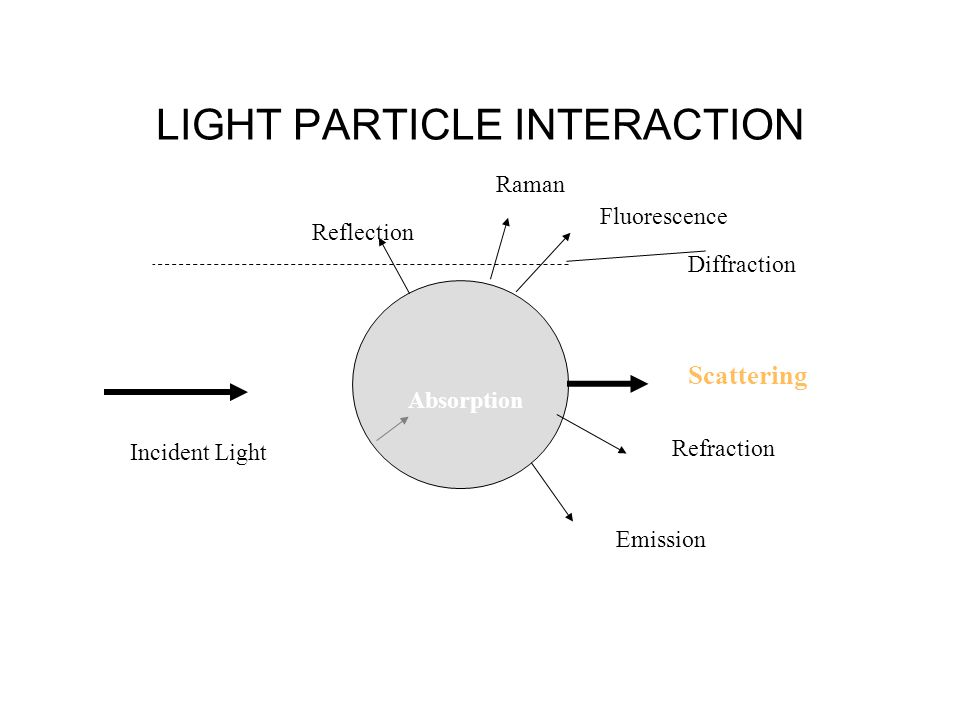Incident Light LIGHT PARTICLE INTERACTION Diffraction Reflection Raman Fluorescence Refraction Emission Absorption Scattering