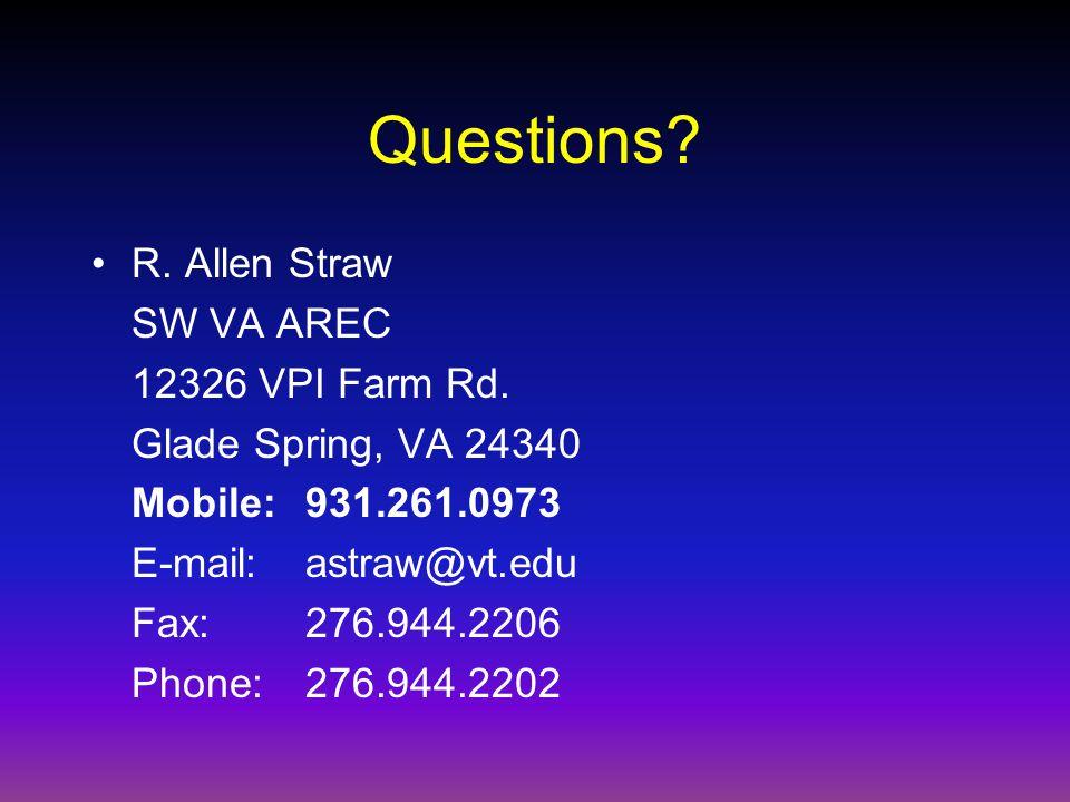 Questions. R. Allen Straw SW VA AREC 12326 VPI Farm Rd.