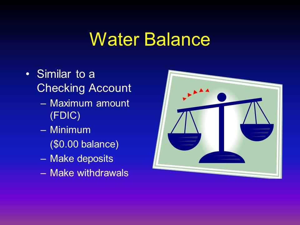 Water Balance Similar to a Checking Account –Maximum amount (FDIC) –Minimum ($0.00 balance) –Make deposits –Make withdrawals