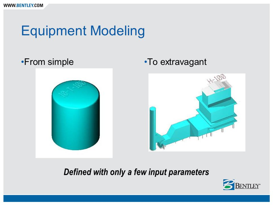 Equipment Modeling From simpleTo extravagant Defined with only a few input parameters