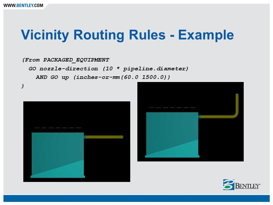 Vicinity Routing Rules - Example (From PACKAGED_EQUIPMENT GO nozzle-direction (10 * pipeline.diameter) AND GO up (inches-or-mm(60.0 1500.0)) )