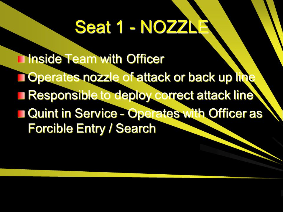 Seat 1 - NOZZLE Inside Team with Officer Operates nozzle of attack or back up line Responsible to deploy correct attack line Quint in Service - Operat