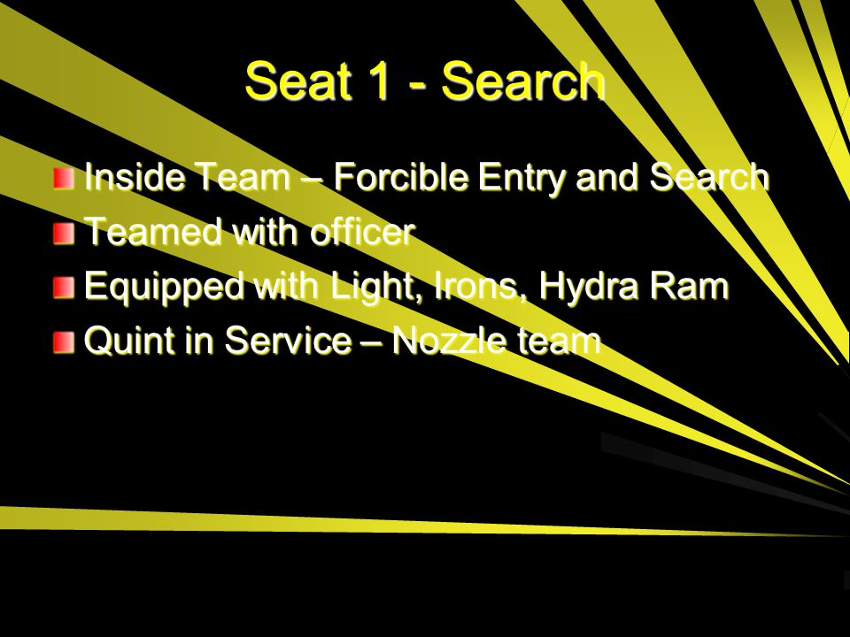 Seat 1 - Search Inside Team – Forcible Entry and Search Teamed with officer Equipped with Light, Irons, Hydra Ram Quint in Service – Nozzle team
