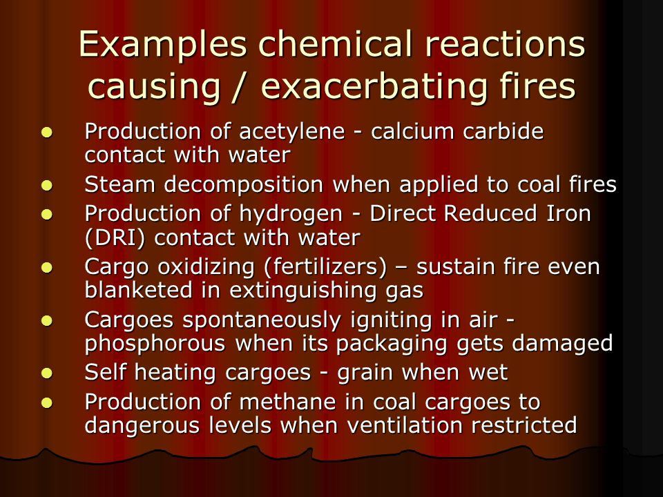 Correct response to fire in dangerous goods given under Emergency Procedures for Ships Carrying Dangerous Goods Correct response to fire in dangerous goods given under Emergency Procedures for Ships Carrying Dangerous Goods Correct response to fire in bulk materials possessing chemical hazards given under Emergency Schedules of the Code of Safe Practice for Solid Bulk Cargoes Correct response to fire in bulk materials possessing chemical hazards given under Emergency Schedules of the Code of Safe Practice for Solid Bulk Cargoes List of fire response action for given substance given under General Index of the IMDG Code & Emergency Procedures for Ships Carrying Dangerous Goods List of fire response action for given substance given under General Index of the IMDG Code & Emergency Procedures for Ships Carrying Dangerous Goods List of fire response action for given bulk cargo given under Code of Safe Practice for Solid Bulk Cargoes List of fire response action for given bulk cargo given under Code of Safe Practice for Solid Bulk Cargoes