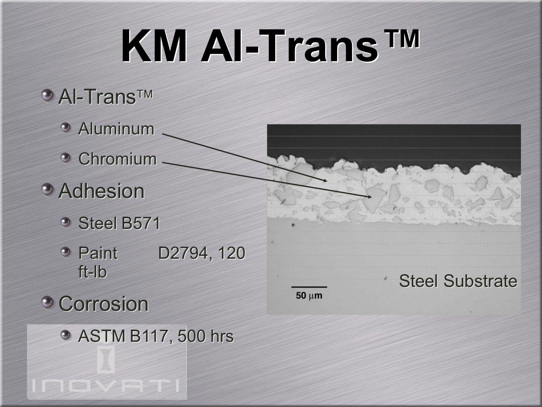 KM Al-Trans™ Al-Trans  Aluminum Chromium Adhesion Steel B571 Paint D2794, 120 ft-lb Corrosion ASTM B117, 500 hrs Al-Trans  Aluminum Chromium Adhesio