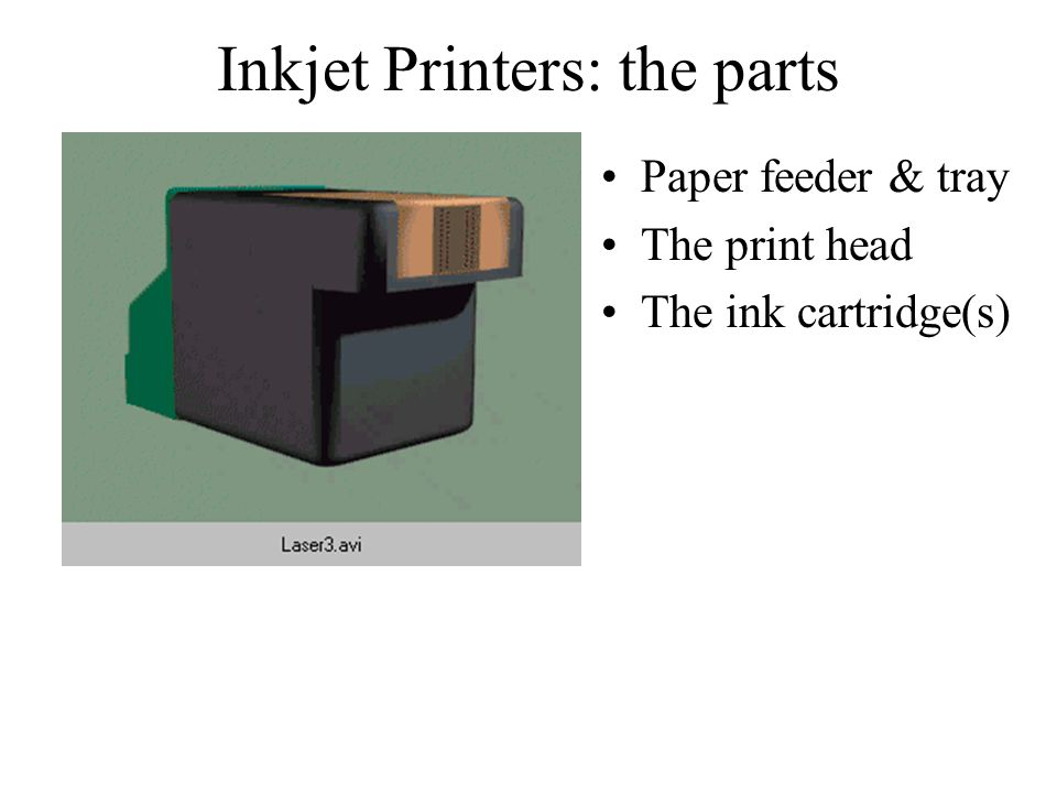 Inkjet Printers: the parts Paper feeder & tray The print head The ink cartridge(s)
