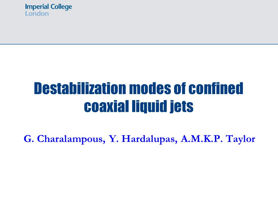 Destabilization modes of confined coaxial liquid jets G. Charalampous, Y. Hardalupas, A.M.K.P. Taylor