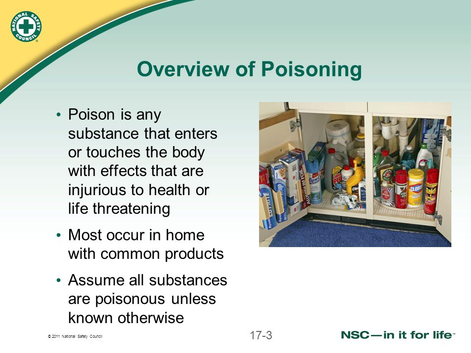 © 2011 National Safety Council Overview of Poisoning Poison is any substance that enters or touches the body with effects that are injurious to health or life threatening Most occur in home with common products Assume all substances are poisonous unless known otherwise 17-3