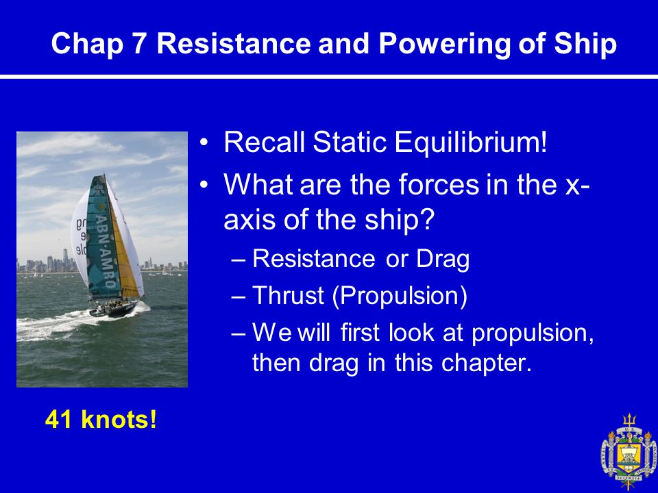 Chap 7 Resistance and Powering of Ship Recall Static Equilibrium.