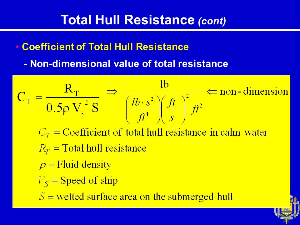 Total Hull Resistance (cont) Coefficient of Total Hull Resistance - Non-dimensional value of total resistance