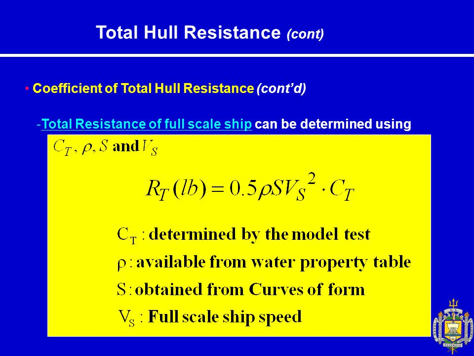 Total Hull Resistance (cont) Coefficient of Total Hull Resistance (cont'd) -Total Resistance of full scale ship can be determined using