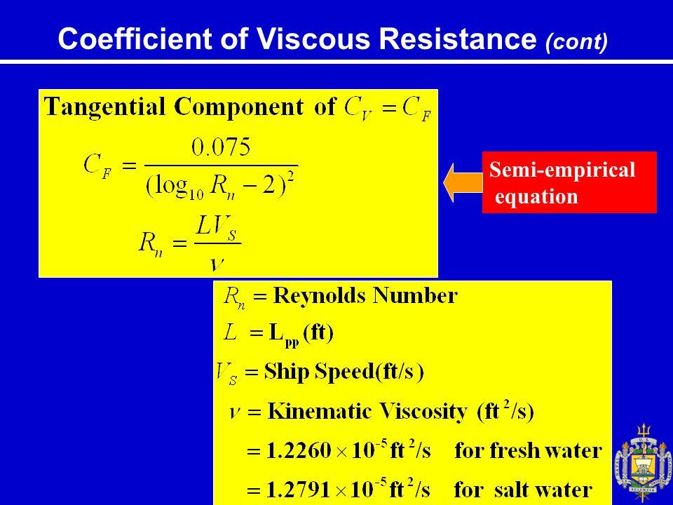 Coefficient of Viscous Resistance (cont) Semi-empirical equation