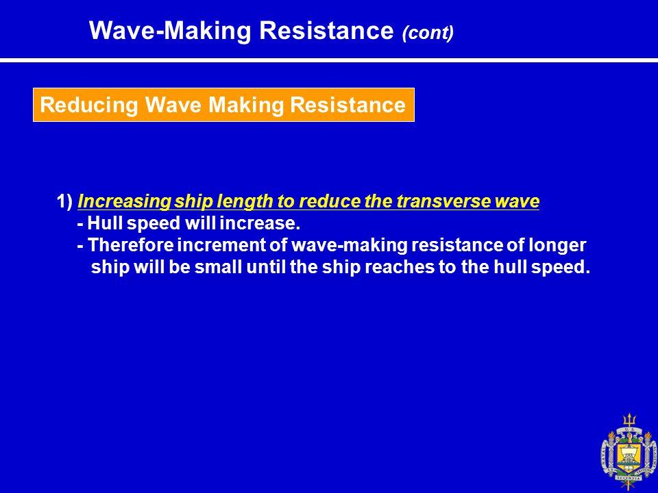 Reducing Wave Making Resistance 1) Increasing ship length to reduce the transverse wave - Hull speed will increase.