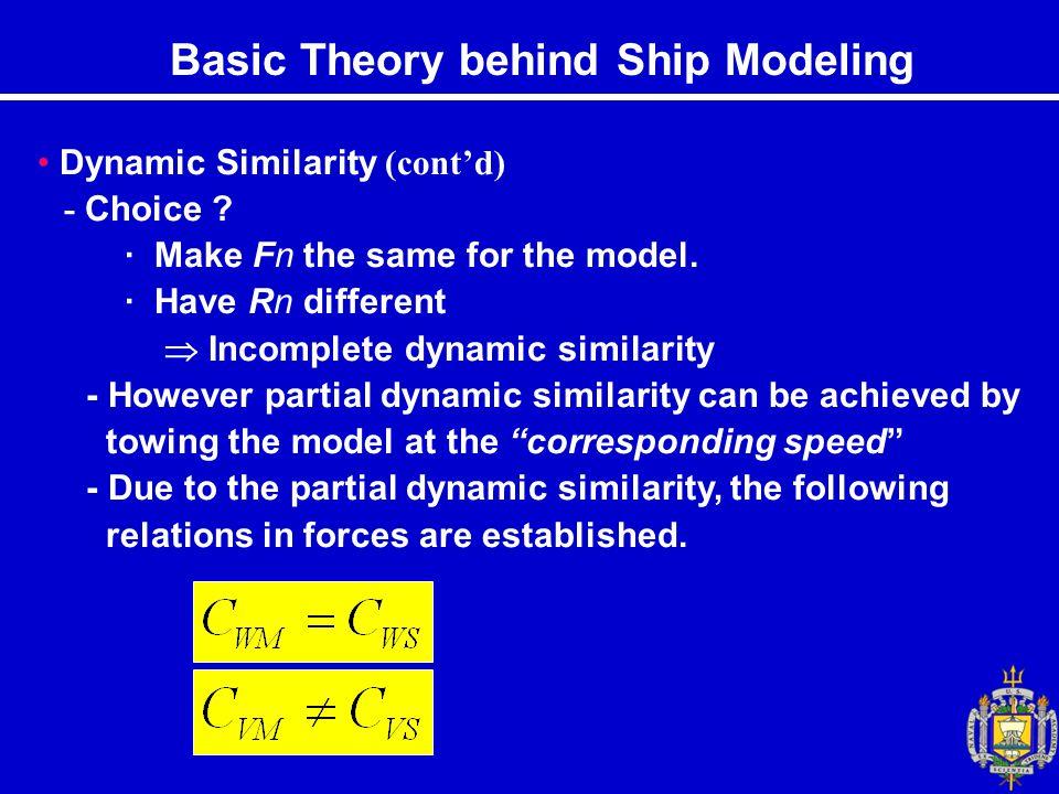 Basic Theory behind Ship Modeling Dynamic Similarity (cont'd) - Choice .
