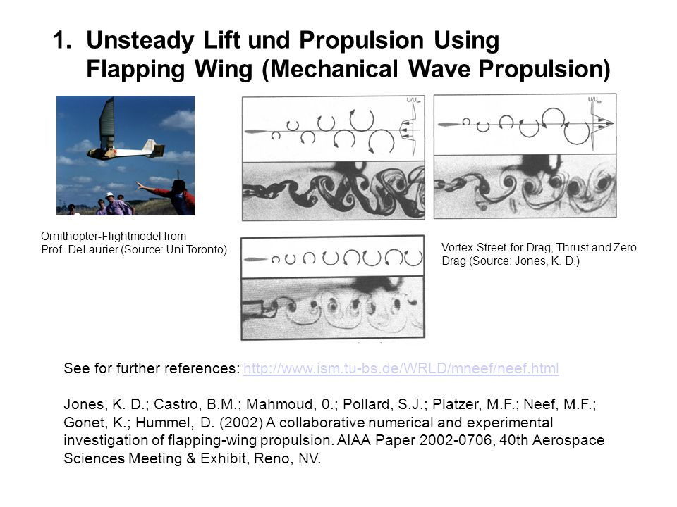 1.Unsteady Lift und Propulsion Using Flapping Wing (Mechanical Wave Propulsion) See for further references: http://www.ism.tu-bs.de/WRLD/mneef/neef.ht