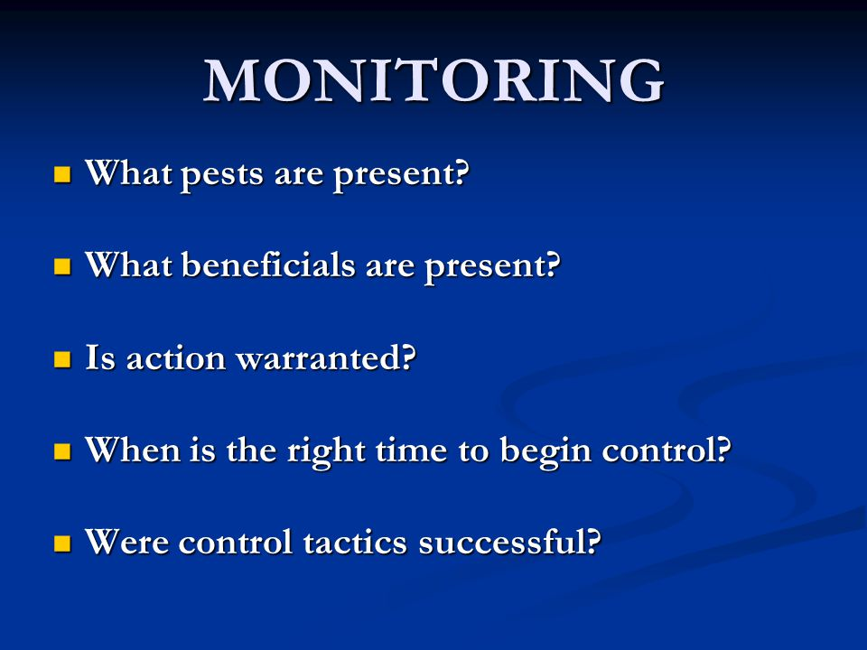 MONITORING What pests are present? What pests are present? What beneficials are present? What beneficials are present? Is action warranted? Is action