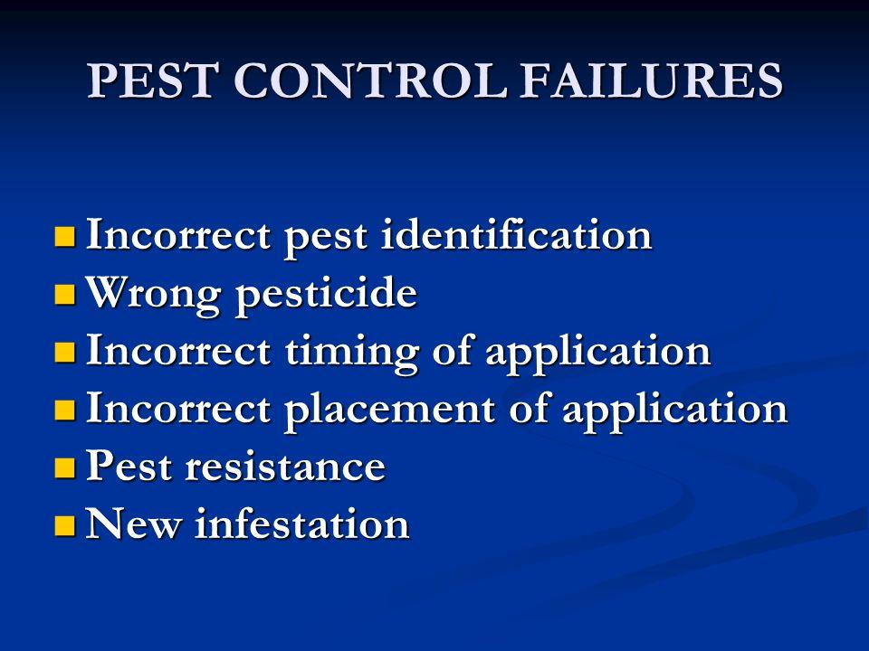 PEST CONTROL FAILURES Incorrect pest identification Incorrect pest identification Wrong pesticide Wrong pesticide Incorrect timing of application Inco