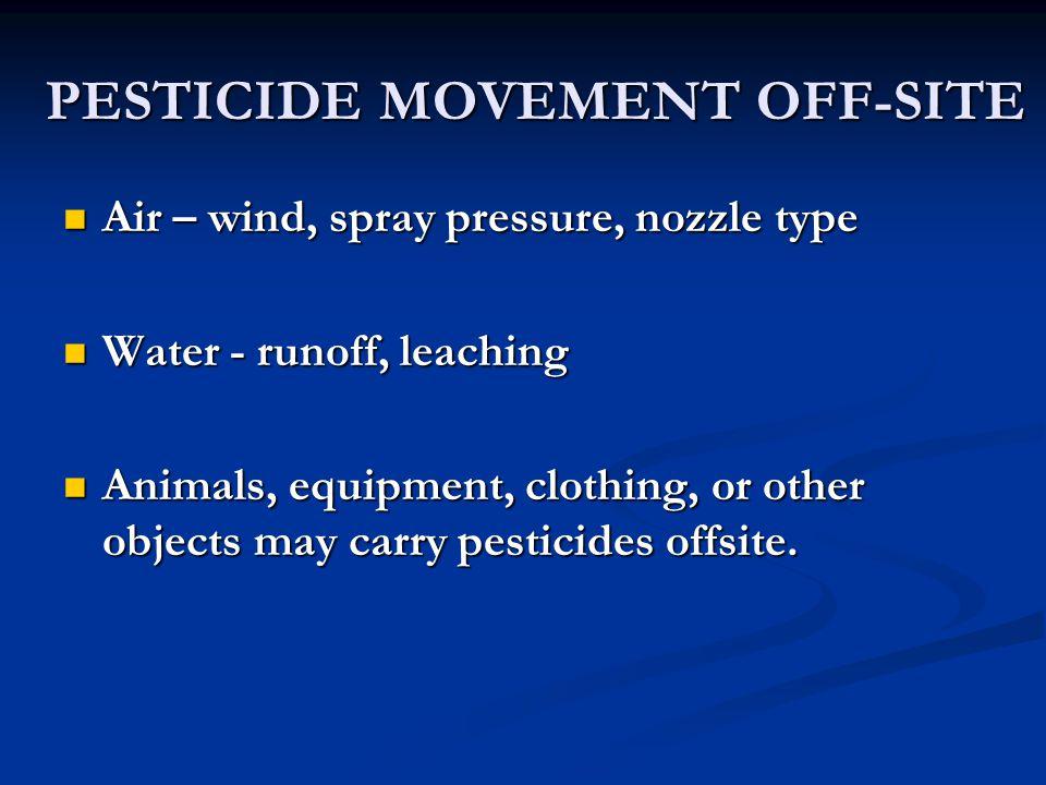 PESTICIDE MOVEMENT OFF-SITE Air – wind, spray pressure, nozzle type Air – wind, spray pressure, nozzle type Water - runoff, leaching Water - runoff, l