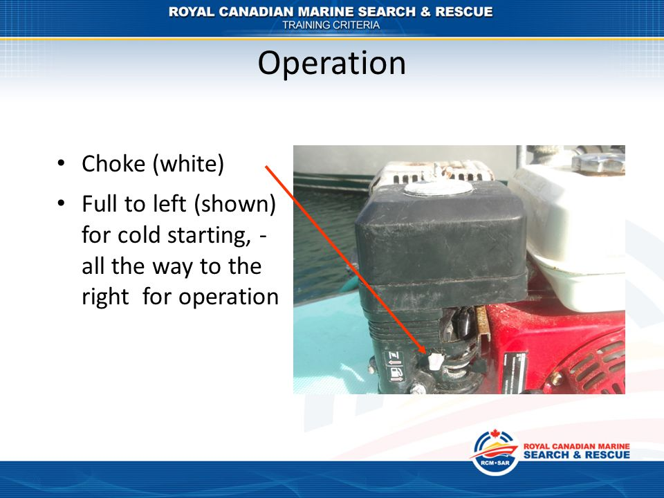 Operation Choke (white) Full to left (shown) for cold starting, - all the way to the right for operation