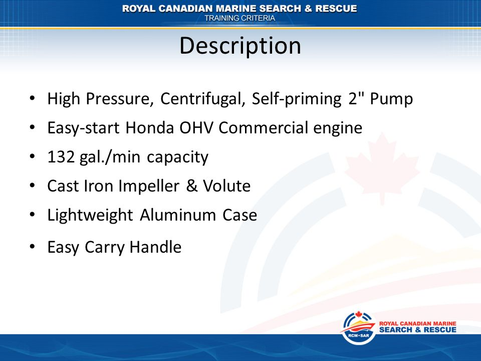 Description High Pressure, Centrifugal, Self-priming 2