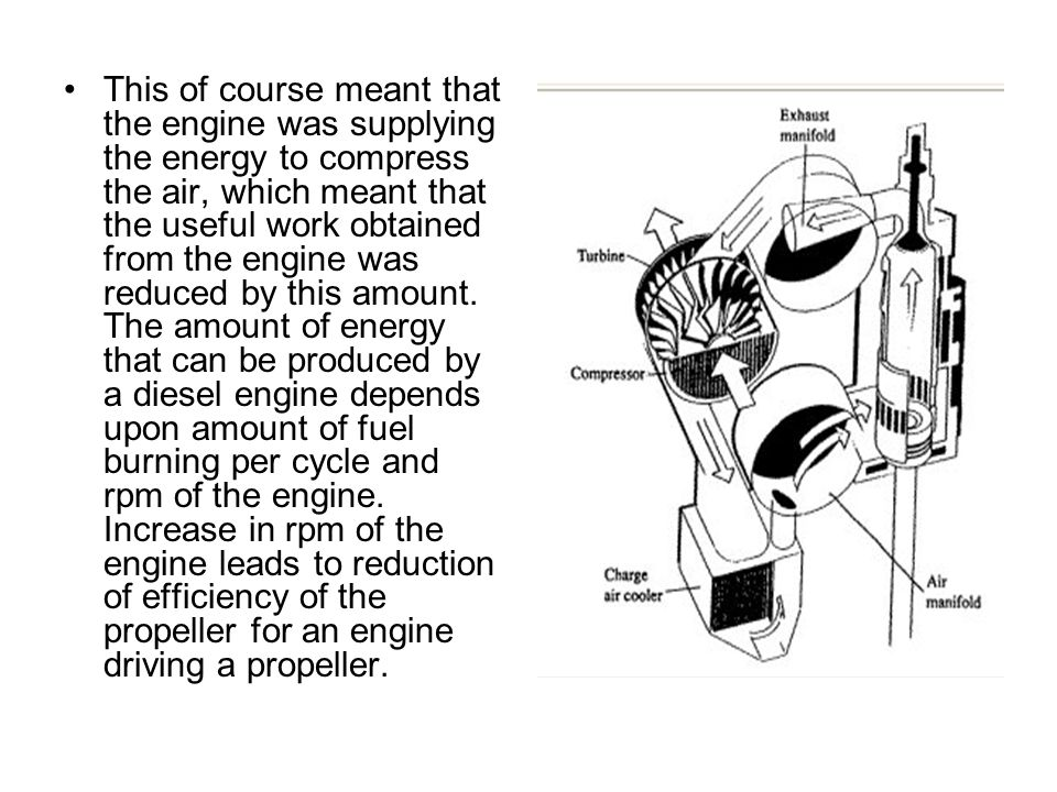 This of course meant that the engine was supplying the energy to compress the air, which meant that the useful work obtained from the engine was reduc