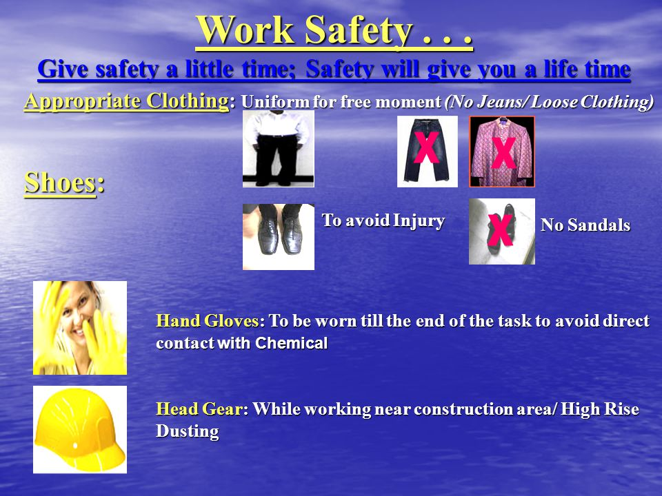 Personal Protective Equipments...(PPE) HELMET DUST MASK SAFETY BELT HELMET DUST MASK SAFETY BELT While working in the common area While working in the dust areas While high-rise GOGGLES GOGGLES While high-rise /ceiling cleaning REFLECTOR JACKET Basement / Common areas Basement / Common areas GUM BOOT GUM BOOT Scrubbing the floor Scrubbing the floor EAR PLUG RUBBER GLOVES EAR PLUG RUBBER GLOVES Noise polluted area (DG Room) Rest room / Garbage yard SURGICAL GLOVES General cleaning General cleaning