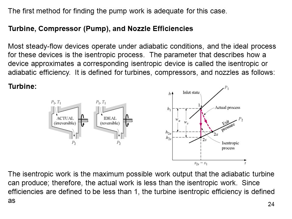 24 The first method for finding the pump work is adequate for this case. Turbine, Compressor (Pump), and Nozzle Efficiencies Most steady-flow devices
