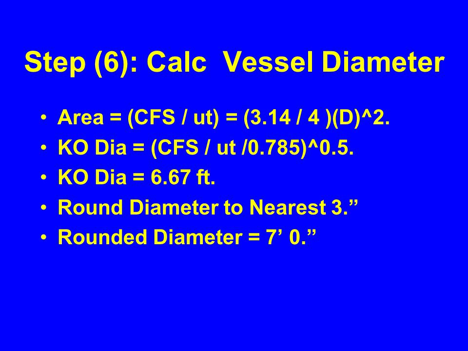 Step (6): Calc Vessel Diameter Area = (CFS / ut) = (3.14 / 4 )(D)^2.