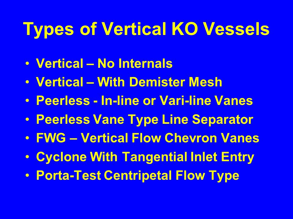 Types of Vertical KO Vessels Vertical – No Internals Vertical – With Demister Mesh Peerless - In-line or Vari-line Vanes Peerless Vane Type Line Separator FWG – Vertical Flow Chevron Vanes Cyclone With Tangential Inlet Entry Porta-Test Centripetal Flow Type