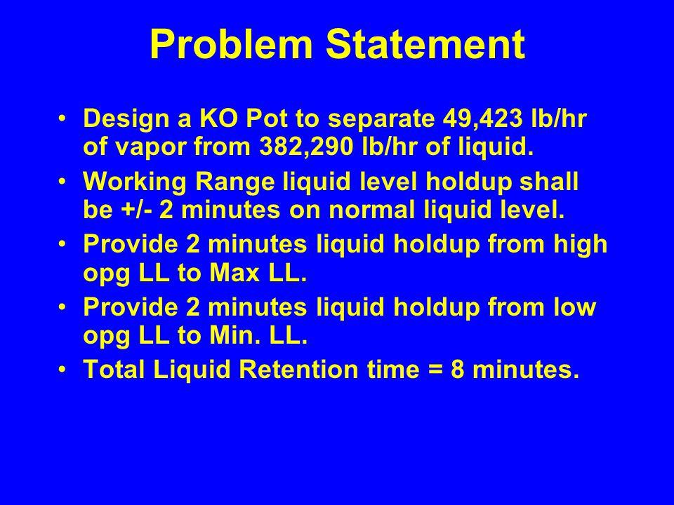 Design Basis Design is vapor liquid systems with lower liquid rates.