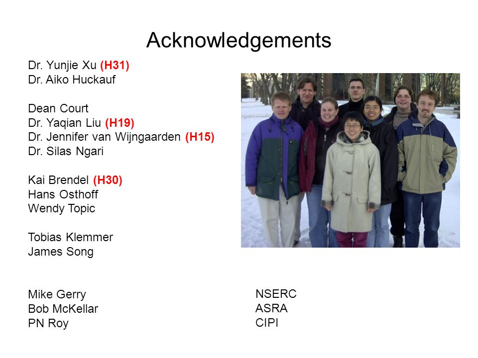 Acknowledgements Dr. Yunjie Xu (H31) Dr. Aiko Huckauf Dean Court Dr.