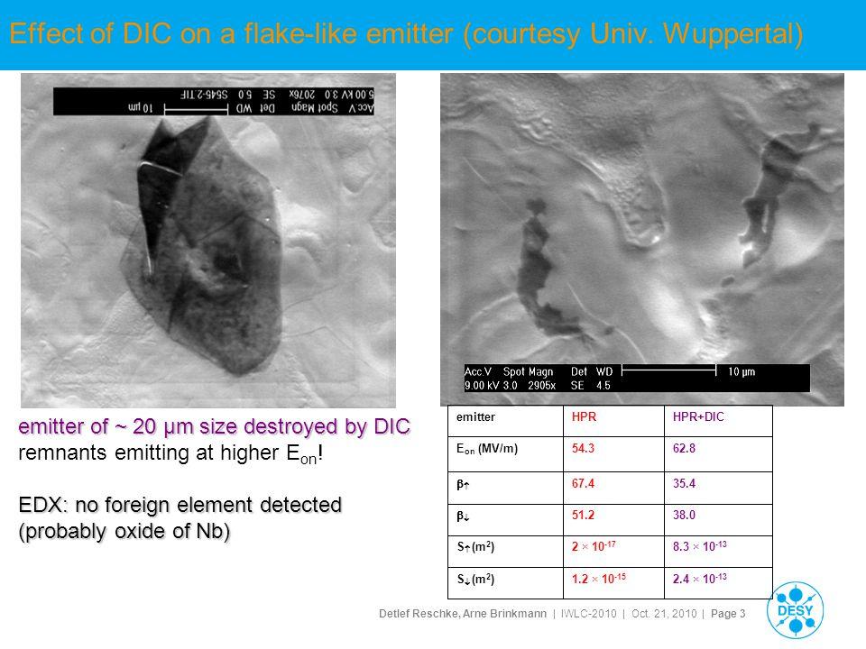 Detlef Reschke, Arne Brinkmann | IWLC-2010 | Oct. 21, 2010 | Page 3 Effect of DIC on a flake-like emitter (courtesy Univ. Wuppertal) emitter of ~ 20 µ