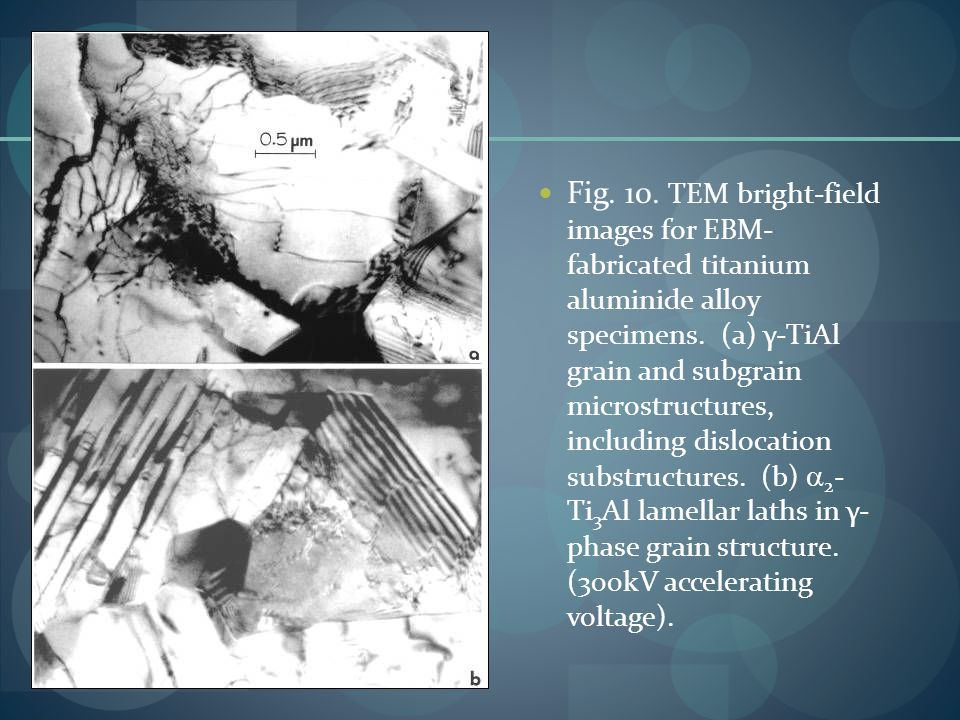Fig. 10. TEM bright-field images for EBM- fabricated titanium aluminide alloy specimens.