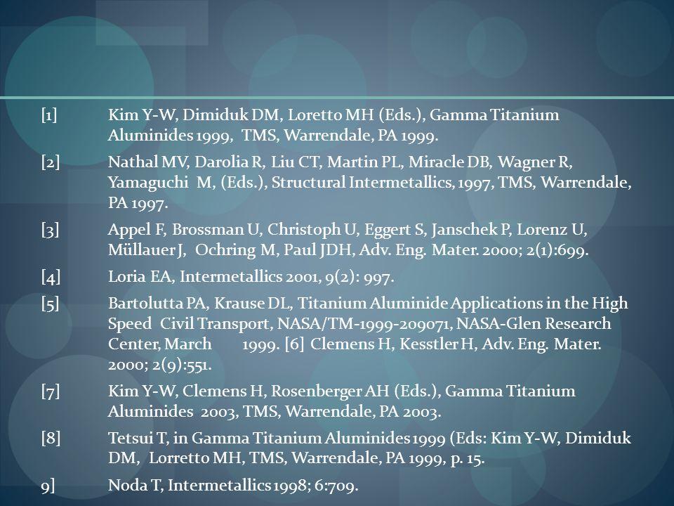 [1]Kim Y-W, Dimiduk DM, Loretto MH (Eds.), Gamma Titanium Aluminides 1999, TMS, Warrendale, PA 1999.