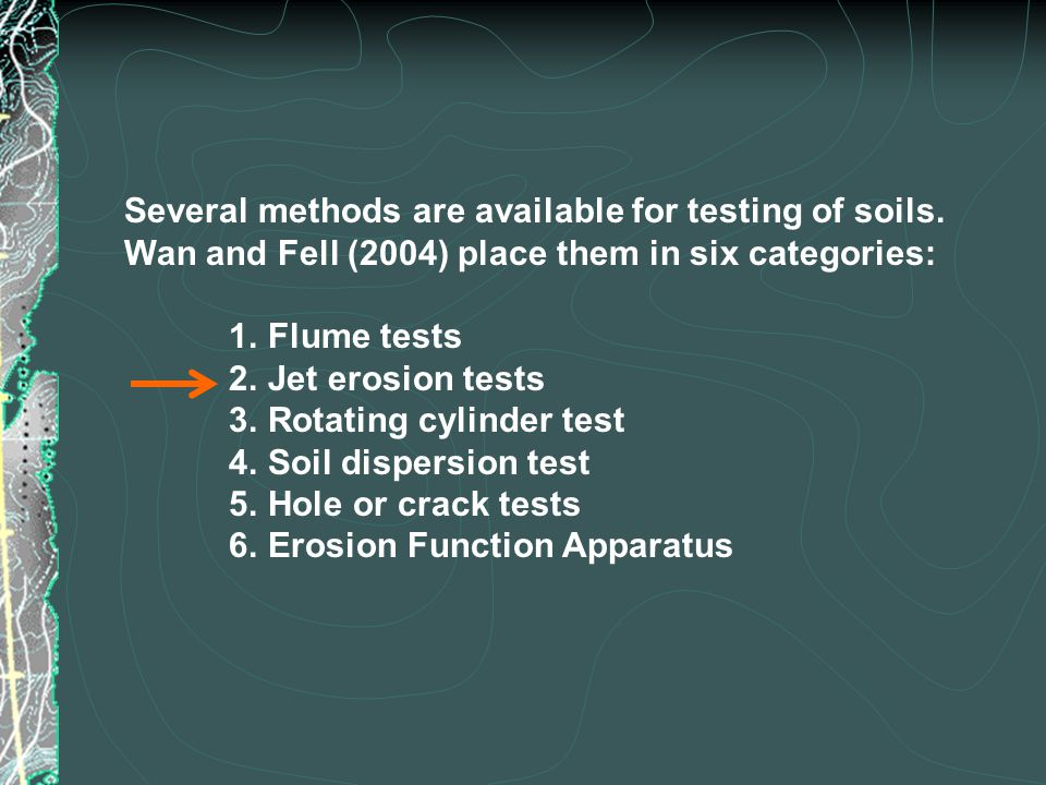 Several methods are available for testing of soils.