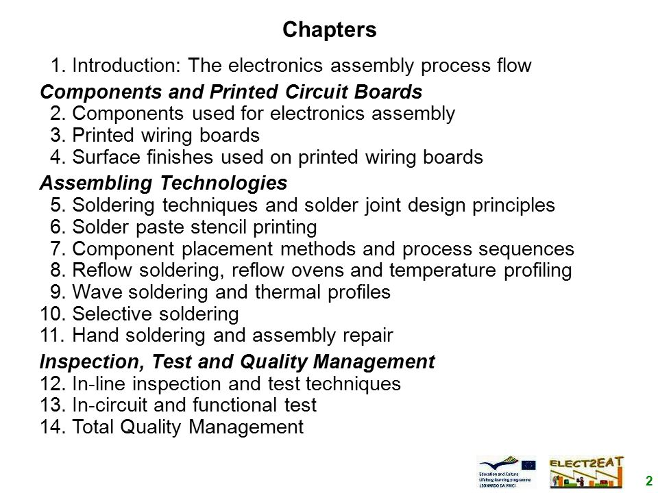 2 Chapters 1.Introduction: The electronics assembly process flow Components and Printed Circuit Boards 2.Components used for electronics assembly 3.Printed wiring boards 4.Surface finishes used on printed wiring boards Assembling Technologies 5.Soldering techniques and solder joint design principles 6.Solder paste stencil printing 7.Component placement methods and process sequences 8.Reflow soldering, reflow ovens and temperature profiling 9.Wave soldering and thermal profiles 10.Selective soldering 11.Hand soldering and assembly repair Inspection, Test and Quality Management 12.In-line inspection and test techniques 13.In-circuit and functional test 14.Total Quality Management