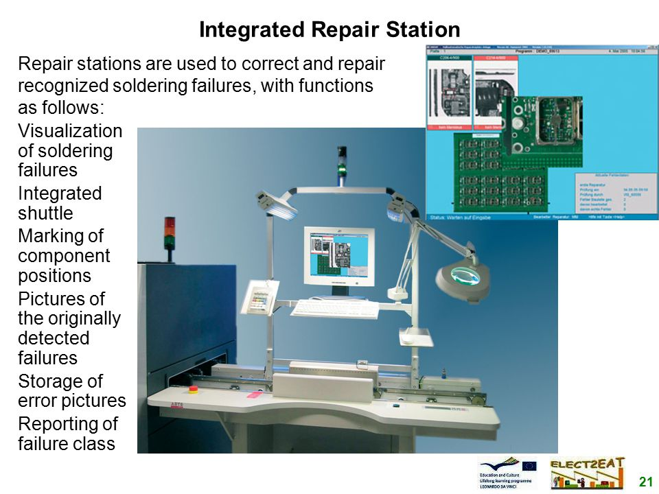 21 Integrated Repair Station Visualization of soldering failures Integrated shuttle Marking of component positions Pictures of the originally detected failures Storage of error pictures Reporting of failure class Repair stations are used to correct and repair recognized soldering failures, with functions as follows: