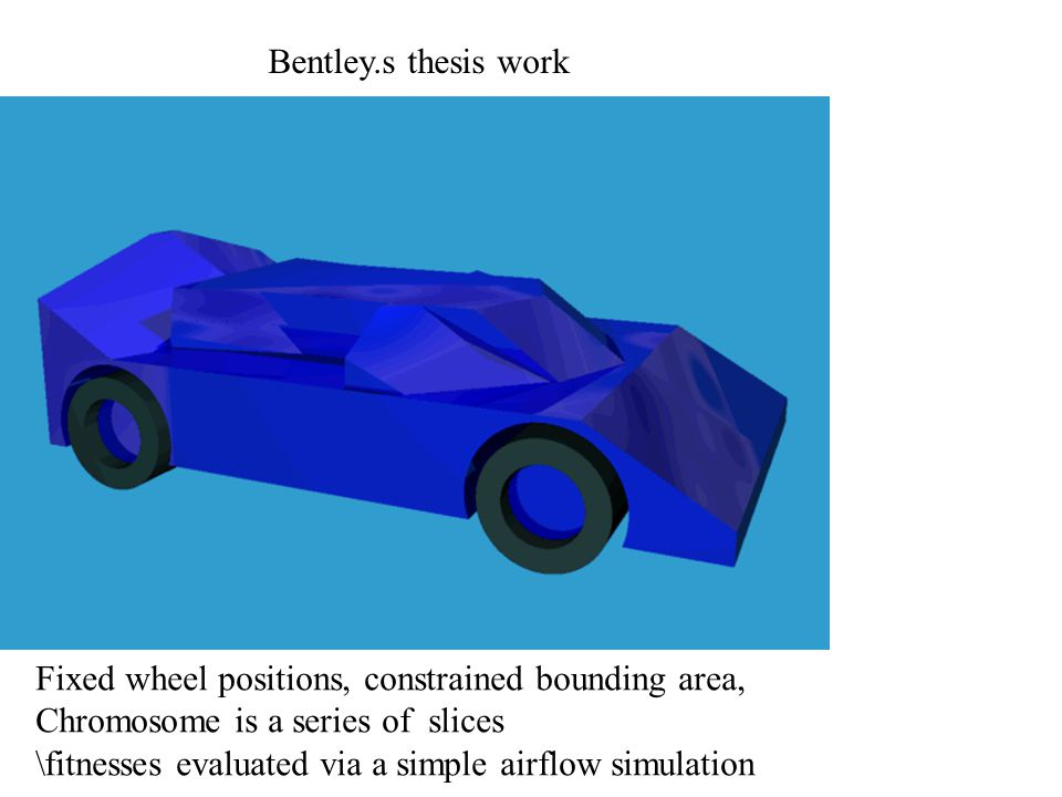 Fixed wheel positions, constrained bounding area, Chromosome is a series of slices \fitnesses evaluated via a simple airflow simulation Bentley.s thesis work