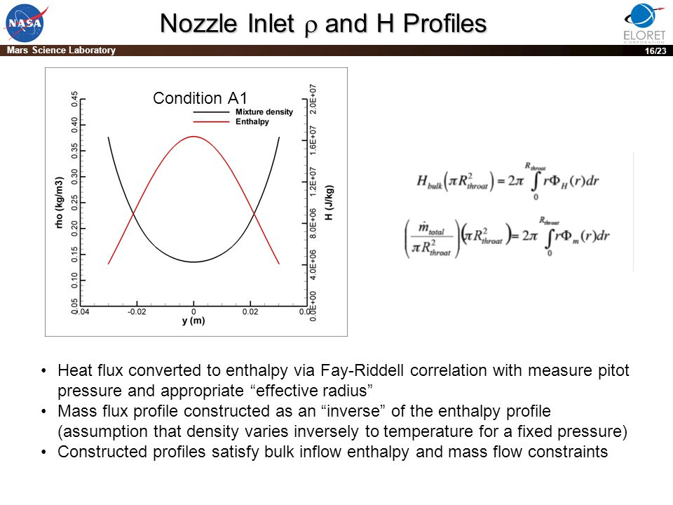 PRE-DECISIONAL DRAFT; For planning and discussion purposes only 16 Mars Science Laboratory 16/23 Nozzle Inlet  and H Profiles Heat flux converted to enthalpy via Fay-Riddell correlation with measure pitot pressure and appropriate effective radius Mass flux profile constructed as an inverse of the enthalpy profile (assumption that density varies inversely to temperature for a fixed pressure) Constructed profiles satisfy bulk inflow enthalpy and mass flow constraints Condition A1