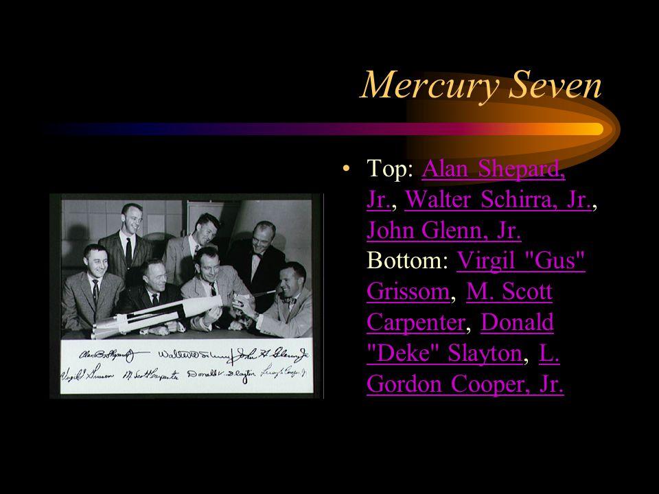Mercury Seven Top: Alan Shepard, Jr., Walter Schirra, Jr., John Glenn, Jr.