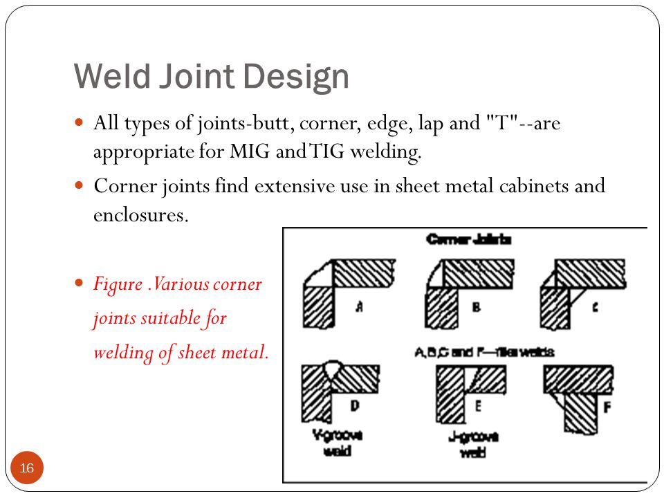 Weld Joint Design All types of joints-butt, corner, edge, lap and