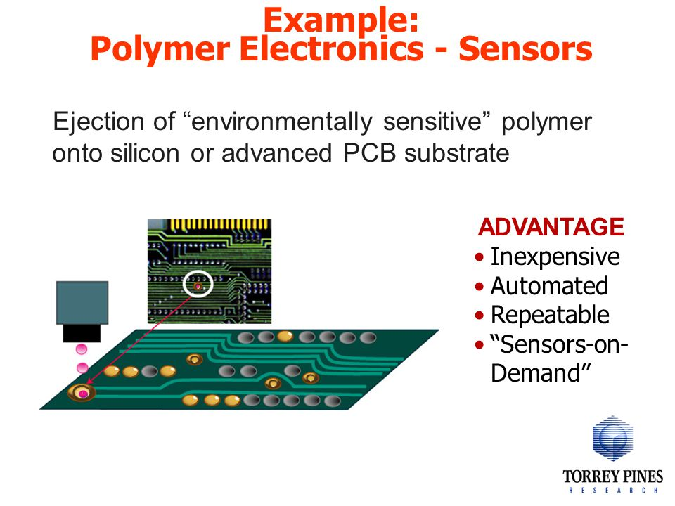 Example: Polymer Electronics - Sensors Ejection of environmentally sensitive polymer onto silicon or advanced PCB substrate ADVANTAGE Inexpensive Automated Repeatable Sensors-on- Demand