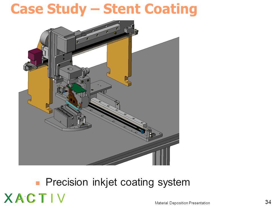 Material Deposition Presentation 34 Case Study – Stent Coating Precision inkjet coating system
