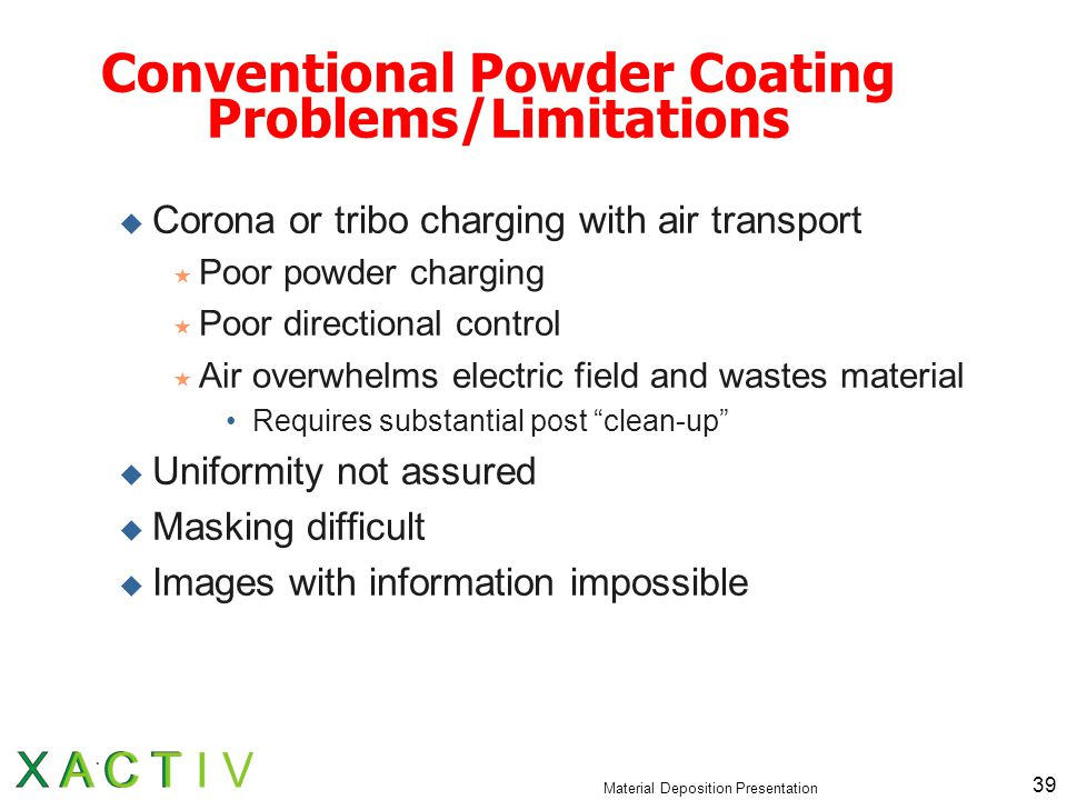 Material Deposition Presentation 39 Conventional Powder Coating Problems/Limitations  Corona or tribo charging with air transport  Poor powder charging  Poor directional control  Air overwhelms electric field and wastes material Requires substantial post clean-up  Uniformity not assured  Masking difficult  Images with information impossible