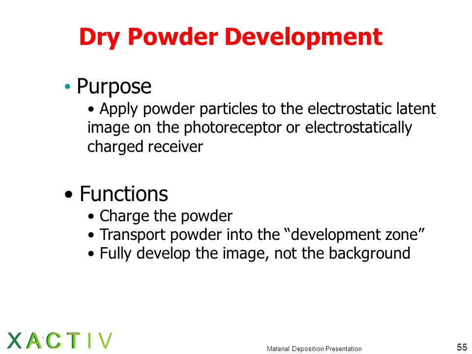 Material Deposition Presentation 55 Dry Powder Development Purpose Apply powder particles to the electrostatic latent image on the photoreceptor or electrostatically charged receiver Functions Charge the powder Transport powder into the development zone Fully develop the image, not the background