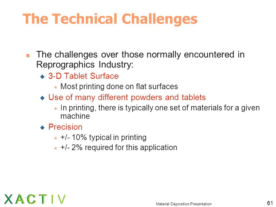 Material Deposition Presentation 61 The Technical Challenges The challenges over those normally encountered in Reprographics Industry:  3-D Tablet Surface  Most printing done on flat surfaces  Use of many different powders and tablets  In printing, there is typically one set of materials for a given machine  Precision  +/- 10% typical in printing  +/- 2% required for this application
