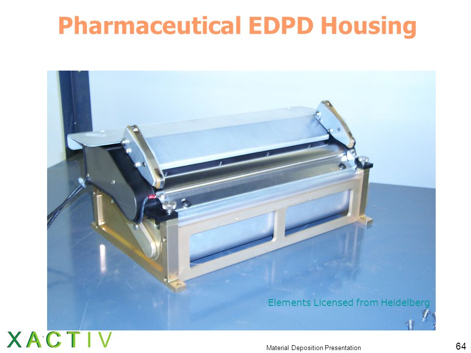 Material Deposition Presentation 64 Pharmaceutical EDPD Housing Elements Licensed from Heidelberg